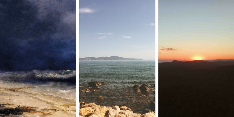 three images, stormy night, sea by day, sunrise