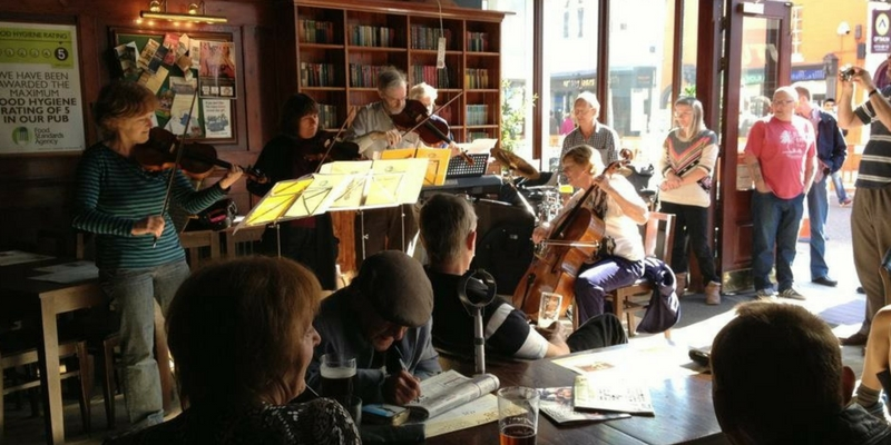 Epiphany music group playing in cafe